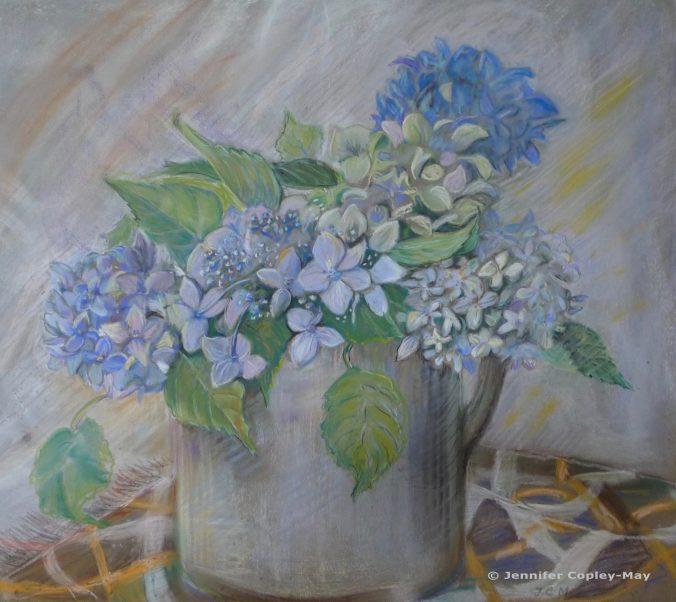 Jennifer Copley-May Hydrangeas in a Jug, pastel on paper