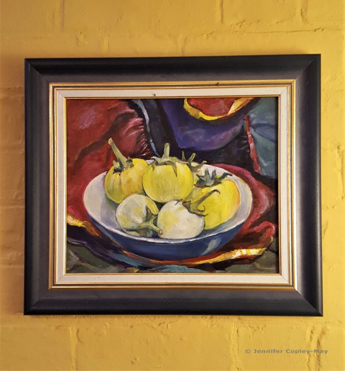 Jennifer Copley-May Still Life with yellow and white aubergines, oil on board, 29 x 21 cms