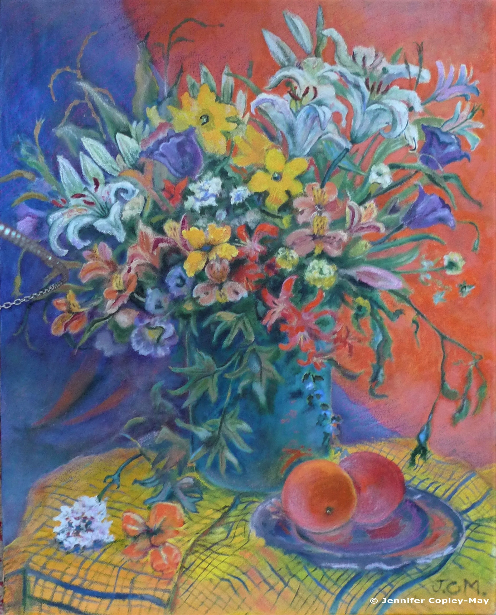 Jennifer Copley-May, Mixed Bouquet with Oranges, oil and pastel on canvas