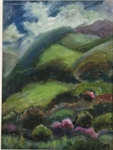Jennifer Copley-May, Swiss Landscape, oil on board, 14.5 x 19.5 cms