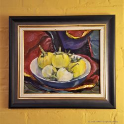 Still Life with yellow and white aubergines, oil on board, 29 x 21 cms
