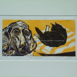Best of Friends Original Woodcut Print