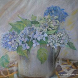 Hydrangeas in a Jug, pastel on paper