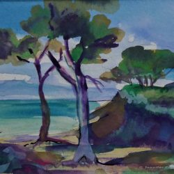 Mediterranean Beach, watercolour on paper, 95 x 135 mm SOLD