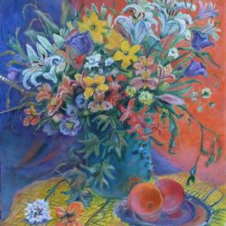 Mixed Bouquet with Oranges, oil and pastel on canvas