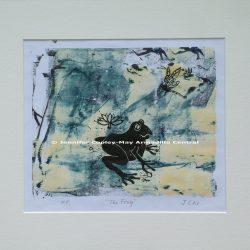 Frog and Dragonfly Original Woodcut Print